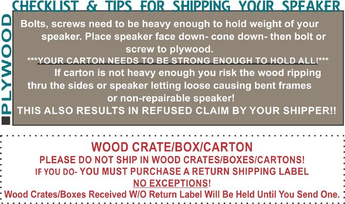 The Speaker Shop Shipping Tips 1